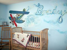 Nursery Mural (airplane theme with name) www.mandysadlerdesigns.com