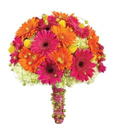artificial bouquets, gerbera daisies, orange and pink.