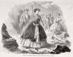 L'impératrice en excursion à la mer de Glace vers 1862