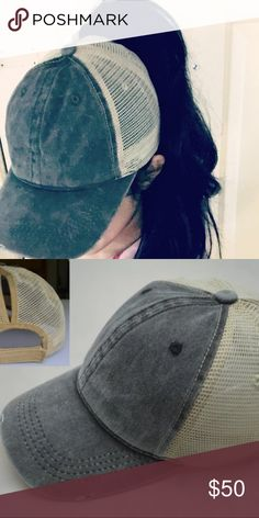 2018 GLAMOUR PONYTAIL MESSY BUN TRUCKER CAP HAT NEW GLAMOROUS PONYTAIL TOP KNOT MESSY BUN GREENISH GRAY WASH COLOR TRUCKER MESH CAP HAT / PERFECT FOR BEAUTIES WHO STRUGGLES TO WEAR HIGH PONYTAIL AND MESSY TOPKNOT IN YOUR HAT EVERYDAY HAT / ADJUSTABLE VELCRO BACK / (1) IN STOCK 👱🏻‍♀️👑 Accessories Hats