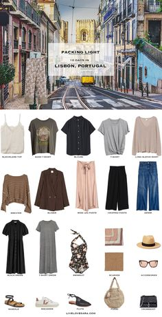 Are you looking for some ideas of what to pack for Lisbon, Portugal in early summer? I have a Lisbon packing list to help you on your way. Head over to my post for what to pack and outfit ideas. Looks Style, Looks Cool, Summer Minimalist, Packing List For Travel, Vacation Travel, Travel Wardrobe Summer, Capsule Wardrobe Summer, Travel Outfit Summer, Travel Capsule
