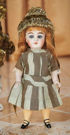 Cotillion - The Susan Whittaker Collection : 414 Large German All-Bisque Doll with Painted Yellow Stockings