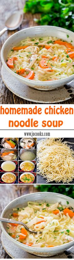 Homemade Chicken Noodle Soup from scratch just like my mom taught me. This soup is healthy and perfect for a cold winter night or when you're feeling sick. The best kind of comfort food there is.