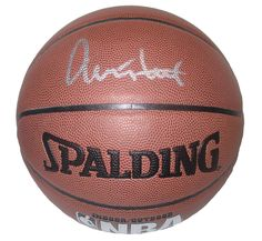 Jerry West Autographed Spalding NBA Indoor / Outdoor Basketball, Proof Photo