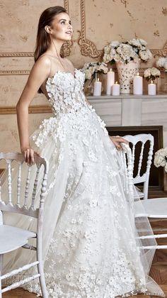 tarik ediz 2017 bridal strapless sweetheart neckline full floral embellishment romantic princess ball gown a line wedding dress royal train (1) mv