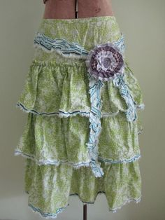 Upcycled Skirt Tiered Green Ruffle Skirt by GarageCoutureClothes