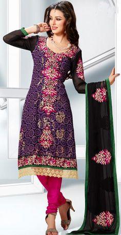 $75.31 Purple Embroidery Faux Georgette Anarkali Salwar Kameez 22160