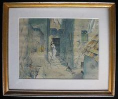 Antikes Aquarellbild des XIX Jh. antique watercolor painting