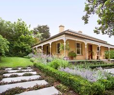 The wide footpath to this home's front steps are surrounded by a pretty perennial garden by Ian Barker Gardens. Front Path, Front Fence, Front Steps, Garden On A Hill, Home And Garden, Landscape Design, Garden Design, Front Courtyard, Melbourne House