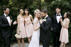 Rent the blush look with vowtobechic.com! Pink Ella, Haley and Tamara bridesmaid dresses by @lulakate. Photography by @thismodernromance