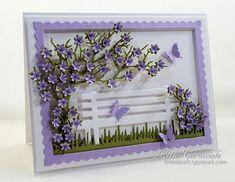 purple flowers park bench scene card by Kittie Caracciolo
