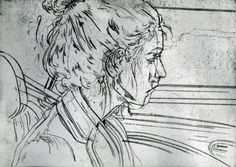 Drypoint Prints by Angie Hoffmeister printmaking people faces dry point