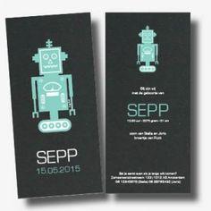 Geboortekaartje Sepp robot zwart karton