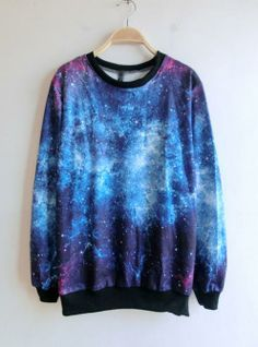 Hot Sale Blue Round Neck Galaxy Print Ribbed Sweateshirt Big sale, hot seller up to 28% off now,one day left, hurry to shop now. http://udobuy.com/goods-6999.html#.Uo10ZtLEeeo