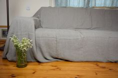 COUCH COVER Pure 100 Linen Stone Washed Softened Standard With Regard To Sofa Covers Plans 13
