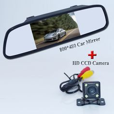"""4.3"""" universal car parking mirror plastic shell with 4 led +parking line car rear reserve camera hd ccd night vision for all car"""