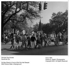 Georgia Day Parade on Bay Street, Savannah, GA. In Front of Old City Hall Steeple, with Factors Walk in Background. Photograph circa 1965. Robert G. Hewitt/Photographer. Copyright 2003. All Rights Reserved.