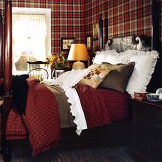 I re~did a guest room over on a Scottish Castle. One of the 'hunter's tartans in Red. I'm into Red tartan AND Blue tartan. I don't know why........................