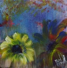 Abstract Art Floral Painting Mini Art by RainCrowArtGallery