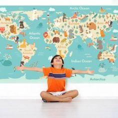El #fotomural mapa mundo #infantil es el elemento #decorativo perfecto para personalizar los espacios infantiles. #goodvinilos #adhesivos #vinilosdecorativos