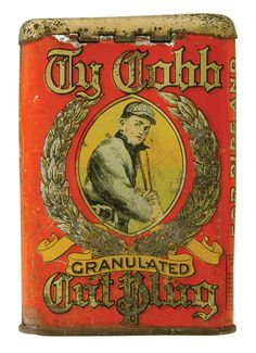 Ty Cobb Cut Plug Tobacco Tin Early ~ This is very strange considering that he had his baseball card removed from the series because he didn't want to promote to kids and tobacco. Vintage Tins, Vintage Antiques, Vintage Style, Advertising Signs, Vintage Advertisements, Pot Pourri, Pots, Tin Containers, Vintage Packaging