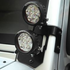 "Rugged Ridge A-Pillar Dual LED Light Mount Kit with 3.5"" Round LED Lights , Semi-Gloss Black - 6 Piece Set 2016 Jeep Wrangler, Jeep Tj, Jeep Truck, Wrangler Accessories, Jeep Accessories, Jeep Lights, Rv Upgrades, Jeep Brand, Rugged Ridge"