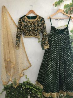 SHOP - Frugal2Fab Gold Lehenga, Green Lehenga, Indian Lehenga, Black Lehenga, Pakistani, Indian Attire, Indian Outfits, Lehnga Dress, Lehenga Skirt