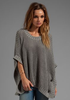 LA Made Jersey Knit Poncho Sweater in Gray