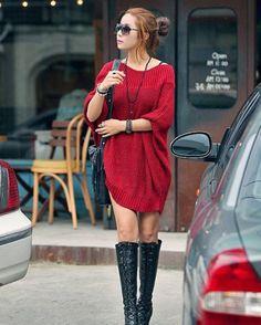 Grand Pull en tricot oversize, mi-long, col bateau, manches chauve-souris, so kpop style