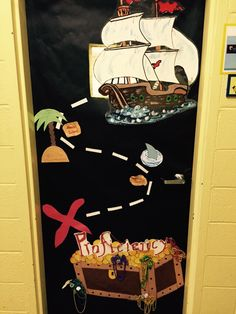 Pirate classroom door Classroom Decor Themes, Classroom Door, Pirate Door, Teach Like A Pirate, Sailor Theme, Classroom Pictures, Fall Door Decorations, Pirate Theme, Nautical Theme