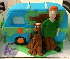 Scooby doo cake Vanilla filled with strawberry Italian buttercream covered in fondant  Decorations modeling chocolate