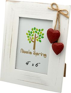 Nicola Spring White Wooden Photo Picture Frame With Red Hearts - 4 x 6""