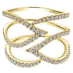 14k Yellow Gold Lusso Diamond Style  Fashion Ladies' Ring With  Diamond | Gabriel & Co NY | LR50933Y45JJ