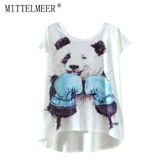 >> Click to Buy << 2017 MITTELMEER New kawaii t Shirt Women harajuk Crew Neck Top Short Sleeve panda irregular T-Shirt Summer Tee For Ladies #Affiliate