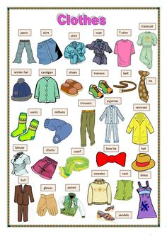 Clothes Vocabulary: Learn Clothes Name with Pictures - ESLBuzz Learning English Learning English For Kids, English Worksheets For Kids, English Lessons For Kids, German Language Learning, Kids English, English Activities, Teaching English, Vocabulary Activities, French Lessons