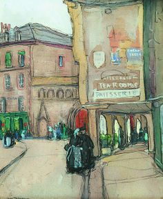 """Parisian Street Scene,"" Jane Peterson, gouache on paper, 18 x 24"", priate collection."