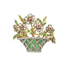 AN ENAMEL AND GEM SET GIARDINETTO BROOCH - Bentley & Skinner