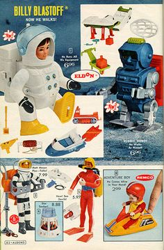 Major Matt Mason shares a full color page with Commander Carter (the orange Sea Devil), a Remco Adventure Boy with snowmobile, and the new walking Billy Blastoff and Robbie the Robot. 1970