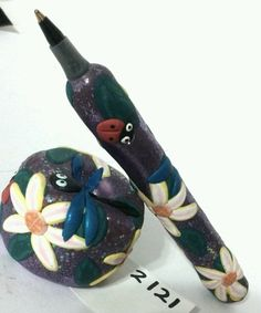 Ladybug dragonfly flower garden refillable handcraft PEN SET ooak art great gift
