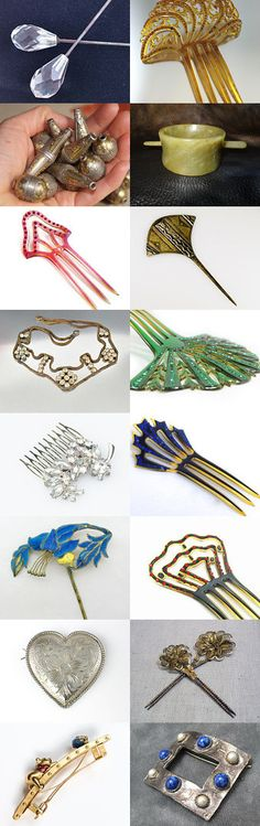 My Lady's Hair Ornaments. Pins, combs, barrettes and beads for my lady's hair Curator: https://www.etsy.com/shop/StolaStore #Etsy #Treasury #hair #Jewelry #HairPin #HairComb #Celluloid #ArtDeco