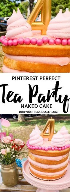 Create a simple yet impressive naked cake for the pinterest perfect tea party! Learn how to make a delicious tea party cake with this step by step tutorial. #ToddlerBirthday #nakedcake #cake
