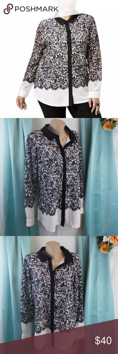 Lace Boyfriend Button-Down Top BW Vintage Style 0X Manufacturer: Charter Club Retail: $99.50 Condition: New with tags Style Type: Button Down Shirt Collection: Charter Club Woman Sleeve Length: Long Sleeve Material: 97% Polyester/3% Spandex Fabric Type: Lace Machine wash  706256791951 AB10 Charter Club Tops Button Down Shirts