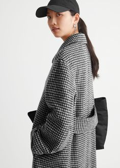 Houndstooth Wool Blend Long Coat - Houndstooth - Woolcoats - & Other Stories