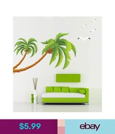 Coconut Palm Tree Sticker Hawaii Tropical Beach Kid Children Wall Decal Stickers #ebay #Home & Garden