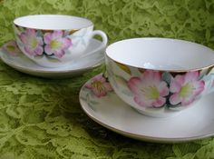 Circa 1918 Noritake Azalea Teacup and Saucers 2 by ChinaGalore, $14.00