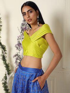Royal Blue Lehenga, Indian Dress Up, Criss Cross Top, Keep It Classy, Festive, Lime, Pockets, Crop Tops, Boutique