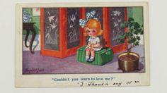 1919-Inter-Art-Donald-McGill-Comic-Postcard-No-2925-Little-Girl-Love-Message