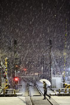 Railroad crossing during a snowstorm, Tokyo, Japan, 2012, photograph by Mr. Hayata.
