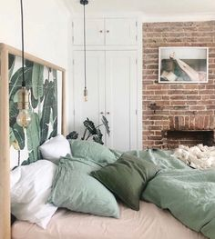 Another angle from dreamy bedroom! Our sage green bedding styled to perfection. Have a great weekend everyone! Home Decor Bedroom, Bedroom Makeover, Home Bedroom, Home Remodeling, Bedroom Green, Home Decor, House Beds, Apartment Decor, Sage Green Bedroom