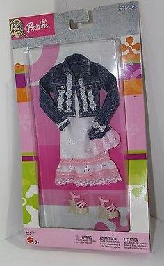 Mattel Barbie Fashion Fever Style White Eyelet Dress with Blue Jean Jacket | eBay